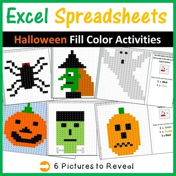 Excel Spreadsheets Halloween/Fall Mystery Pictures Fill Color (Pixel Art)