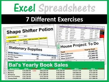 Excel Spreadsheets - Lesson Book & 7 Different Spreadsheets (ISTE 2016 Aligned)