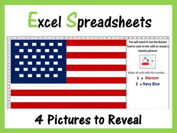 Excel Spreadsheets Presidents Day Mystery Pictures Fill Color - Computer Lab