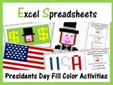 Excel Spreadsheets Presidents Day Mystery Pictures Fill Color (Pixel Art)