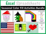 Excel Spreadsheets Seasonal Mystery Pictures Fill Color Bundle (Pixel Art)