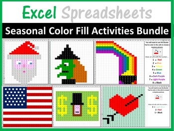 Excel Spreadsheets Seasonal Mystery Pictures Fill Color Bundle Pixel Art