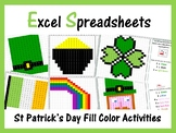 Excel Spreadsheets St. Patricks Day Mystery Pictures Fill Color (Pixel Art)