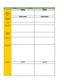 Excel Weekly Lesson Plan Template