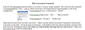 Excel and the Concatenate command