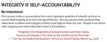 """Excellence: """"Integrity is Self-Accountability"""""""
