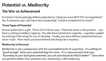 "Excellence: ""Potential vs. Mediocrity"""