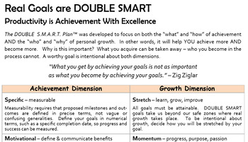 """Excellence: """"Real Goals are DOUBLE SMART"""""""