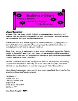 Excellence Stars or E-Stars ( A Classroom PBIS Program)