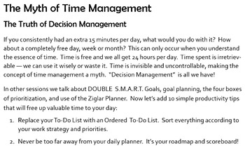 "Excellence: ""The Myth of Time Management"""