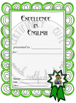 Excellence in English Certificate Set