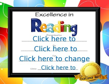 Excellence in Reading Award
