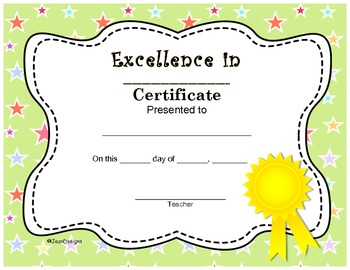 Excellence in _ Cute End Of The Year Certificate Award Pre k-5 Editable Fillable