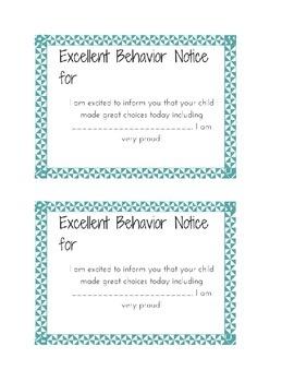 Excellent Behavior Notice