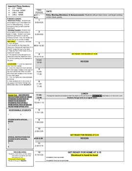 Excellent Blank DAY PLAN for Elementary Teachers