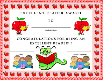Excellent Reader Award Certificate- Kids Will Love It!!
