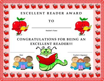 Excellent Reader Award Certificate- Kids Will Love It!!