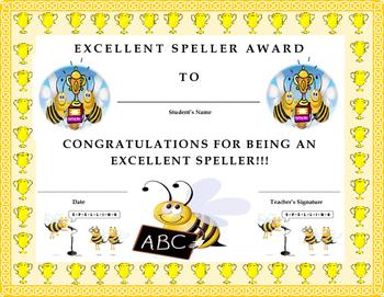 Excellent Speller Award Certificate- Kids Will Love It!!