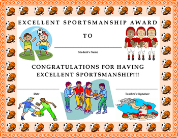 Excellent Sportsmanship Award Certificate- Kids Will Love It!!