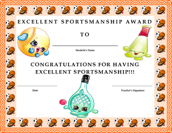 Excellent Sportsmanship Award Certificate- Shopkins Theme
