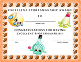 Excellent Sportsmanship Award Certificate- Shopkins Theme- Kids Will Love It!!