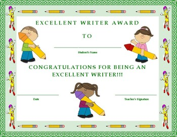 Excellent Writer Award Certificate- Kids Will Love It!!