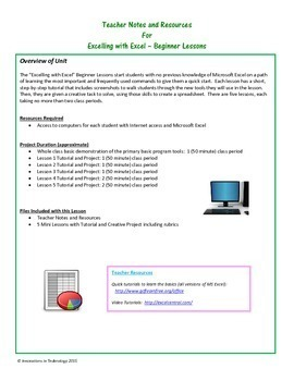 Excelling with Microsoft Excel - Beginner Activities