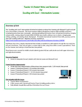 Excelling with Microsoft Excel - Intermediate Tutorial & Activities