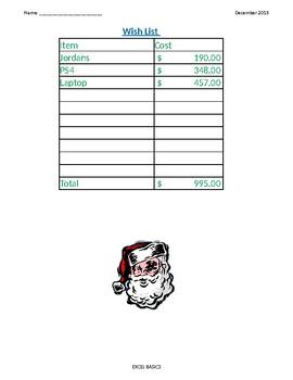 Microsoft Excel Spreadsheet Basic Holiday Wish List