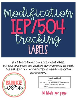 Modification Tracking Labels: Special Education