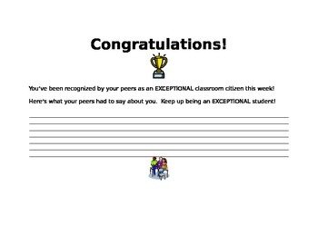Exceptional Classroom Citizen Reward Certificate