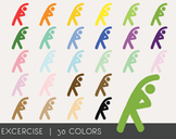 Excercise Digital Clipart, Excercise Graphics, Excercise PNG, Rainbow Excercise