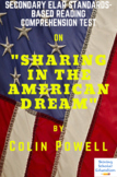 """Excerpt from """"Sharing in the American Dream"""" by Colin Powell Reading Test"""