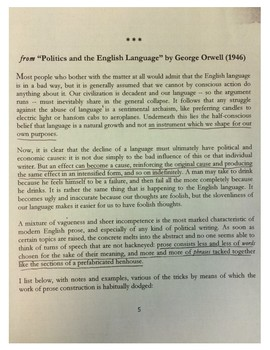 """Excerpt of Best Parts from Orwell's """"Politics and the English Language"""""""