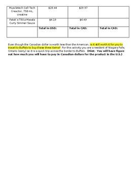Exchange Rate Calculations Activity