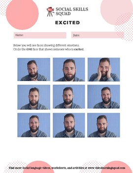Social Skills Squad: Facial Expressions - Excited