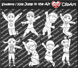 Excited Students / Kids Jump Clip Art [Black & White]