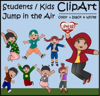 Excited Students / Kids Jump Clip Art [Color + Black & White]