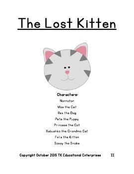 Exciting Animal Reader's Theatre Play - The Lost Kitten - Play #1