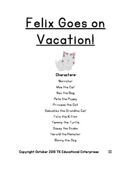 Exciting Animal Reader's Theatre Play - Felix Goes on Vacation - Play #3