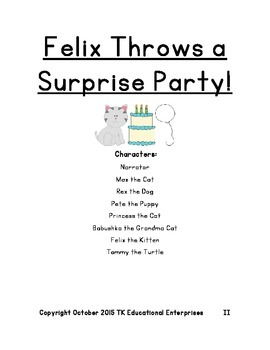 Exciting Animal Reader's Theatre Play - Felix Throws a Surprise Party - Play #2