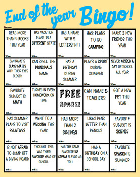 Exciting End of the Year Bingo! (Premium Freebie)