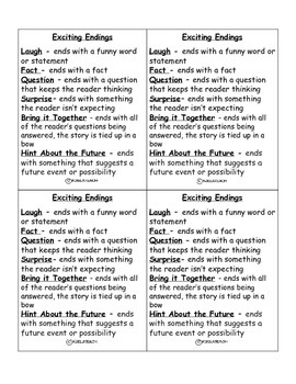 Exciting Endings Desk Reference Sheet