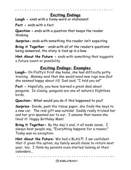 Exciting Endings Handout