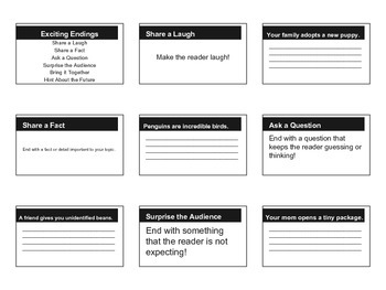 Exciting Endings Handout Grade 3