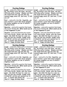 Exciting Endings with Examples Desk Reference Sheet