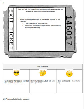 Exciting Federalist Vs Anti-Federalist Activity Worksheet with great visuals