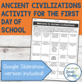 First Day of School Activity for Ancient Civilizations or
