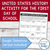 Exciting First Day of School Activity for United States History