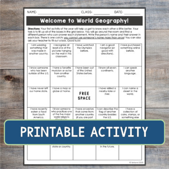 Exciting First Day of School Activity for World Geography or World Cultures